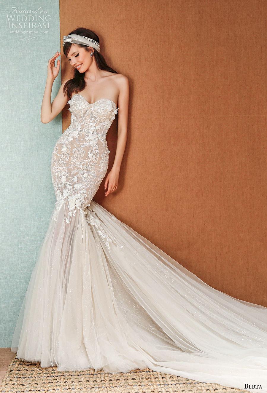 berta spring 2021 privee bridal strapless sweetheart neckline heavily embellished bodice romantic mermaid wedding dress mid back chapel train (1) mv