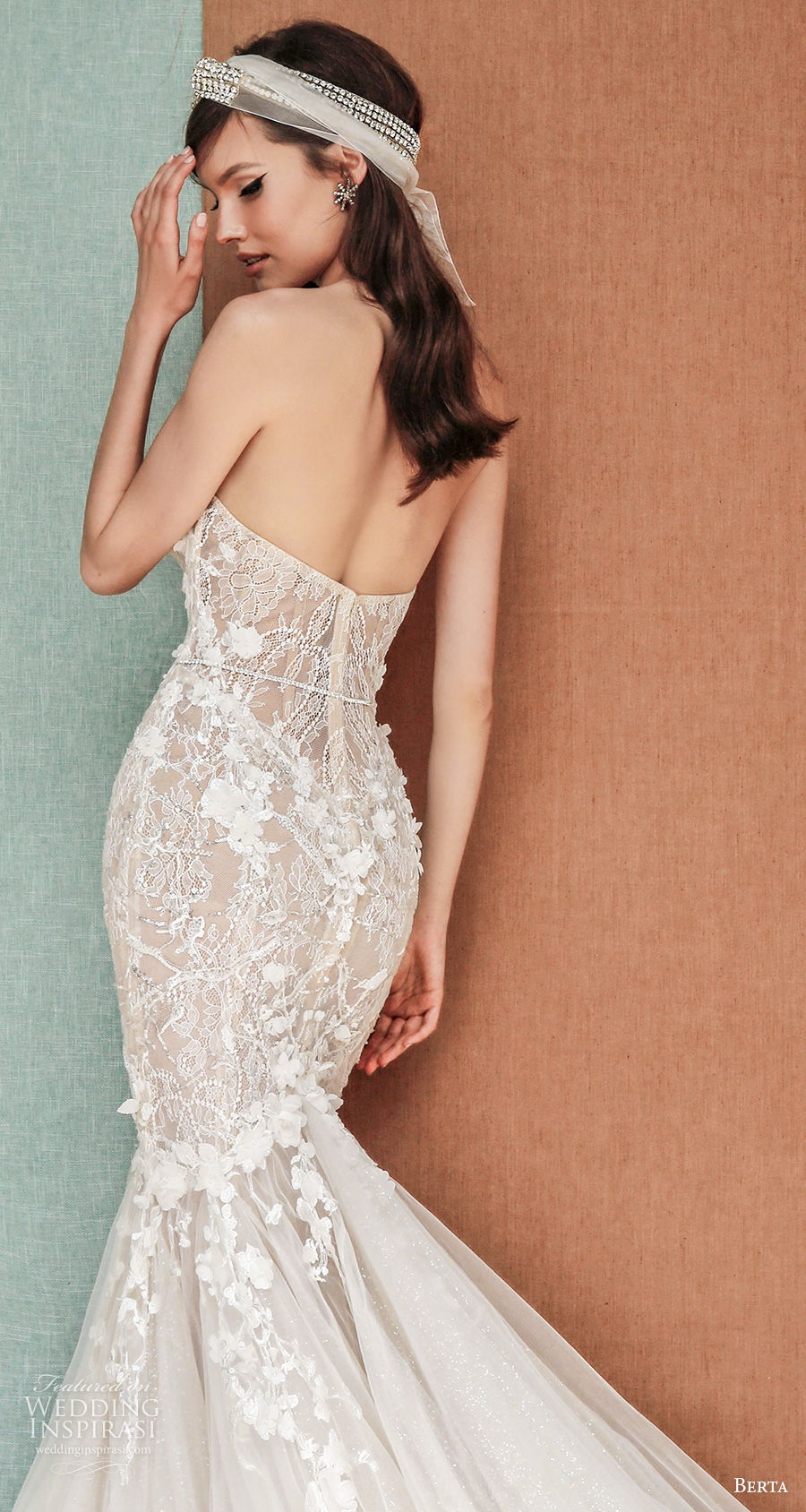 berta spring 2021 privee bridal strapless sweetheart neckline heavily embellished bodice romantic mermaid wedding dress mid back chapel train (1) zbv
