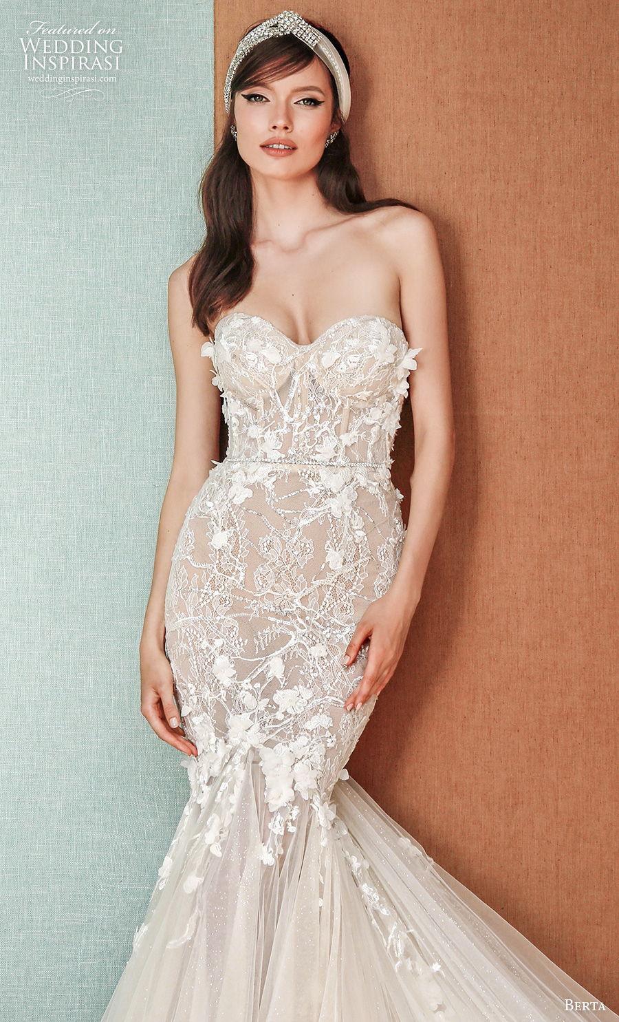 berta spring 2021 privee bridal strapless sweetheart neckline heavily embellished bodice romantic mermaid wedding dress mid back chapel train (1) zv
