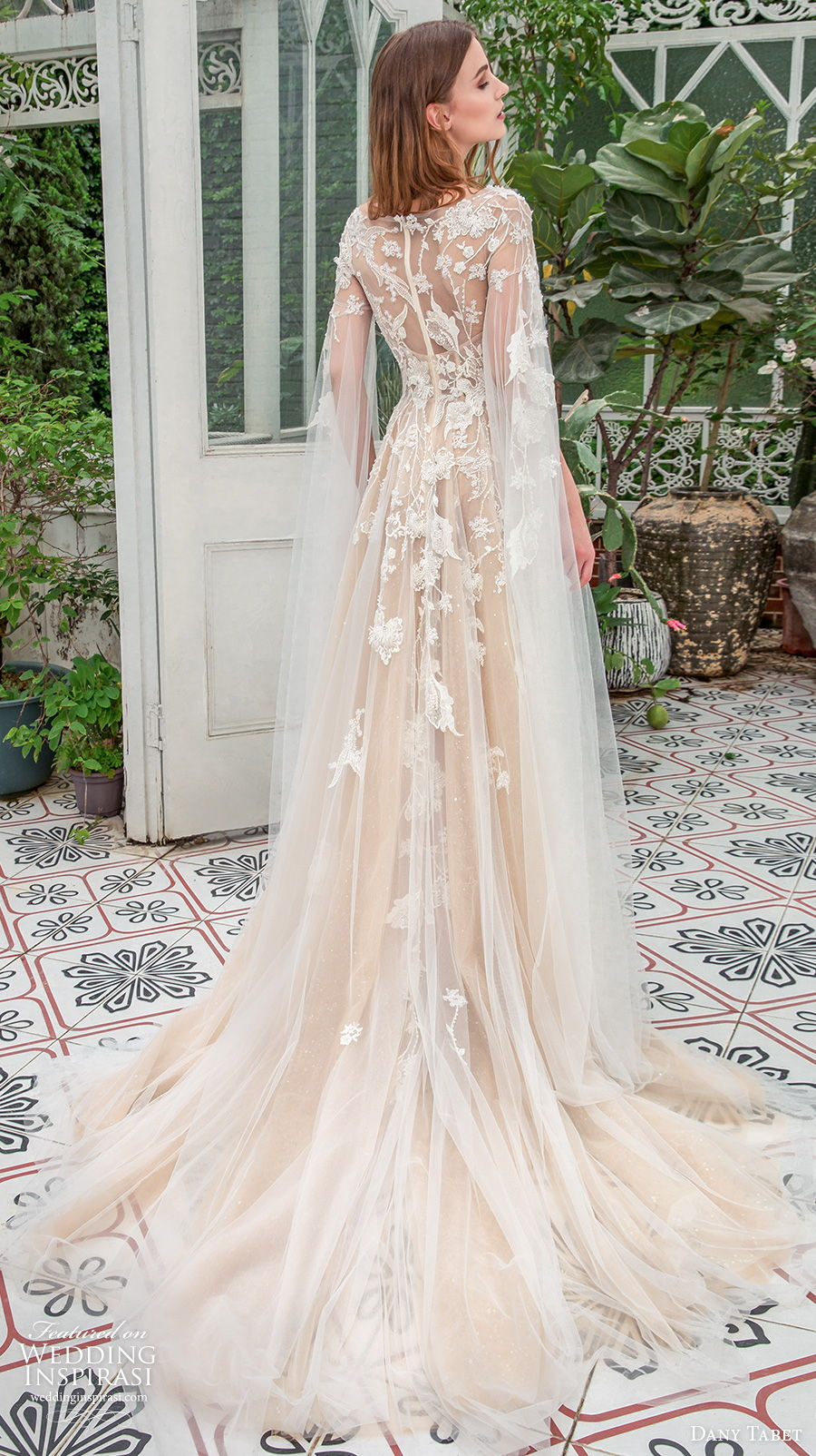 dany tabet 2021 emerge bridal long hanging sleeves bateau neck heavily embellished bodice romantic ivory modified a  line wedding dress withcovered lace back chapel train (7) bv