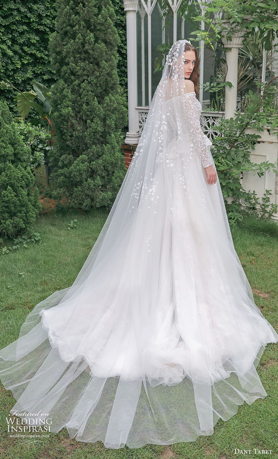 dany tabet 2021 emerge bridal long sleeves off the shoulder heavily embellished bodice peplum romantic a  line wedding dress medium train (3) bv