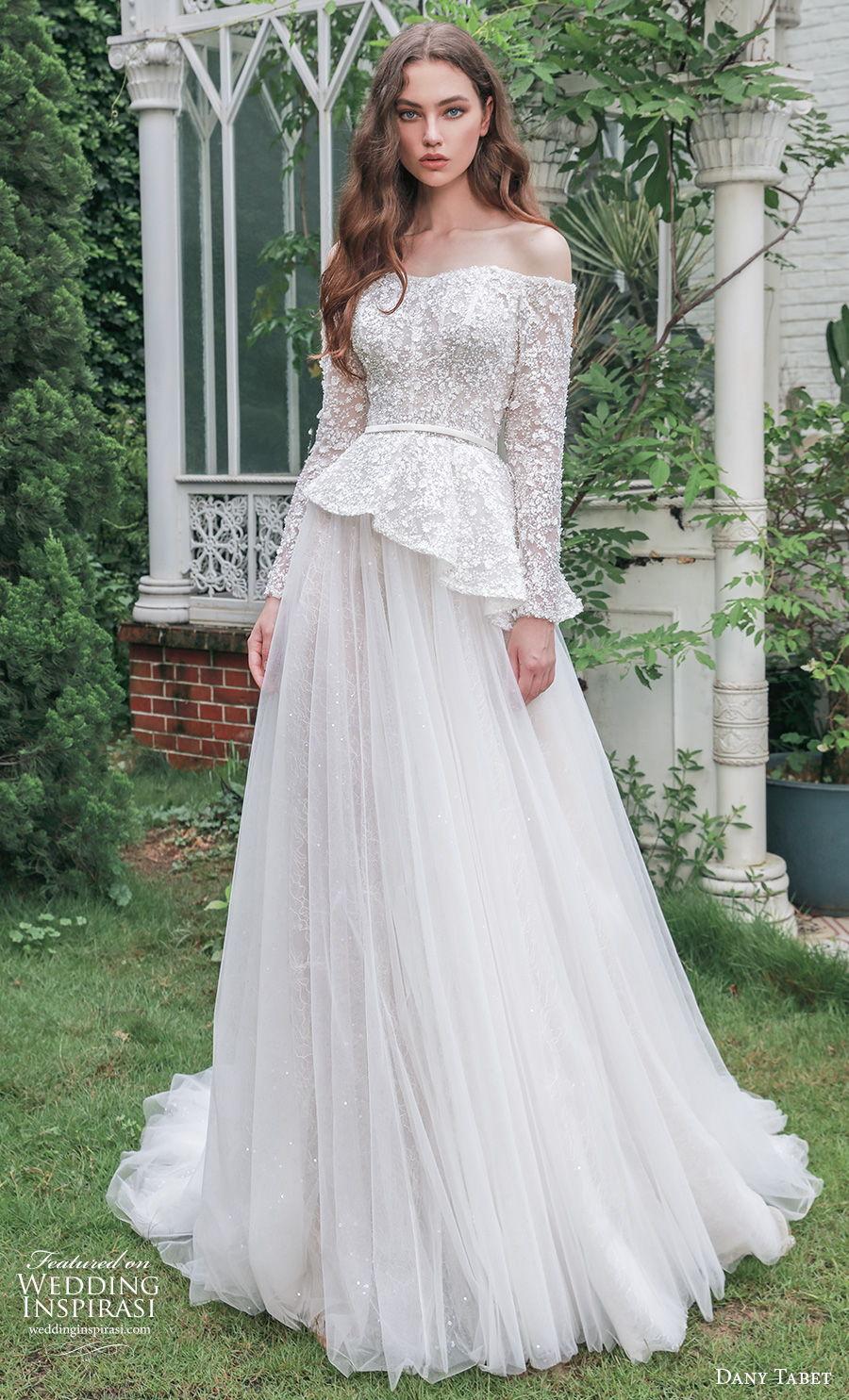 dany tabet 2021 emerge bridal long sleeves off the shoulder heavily embellished bodice peplum romantic a  line wedding dress medium train (3) mv