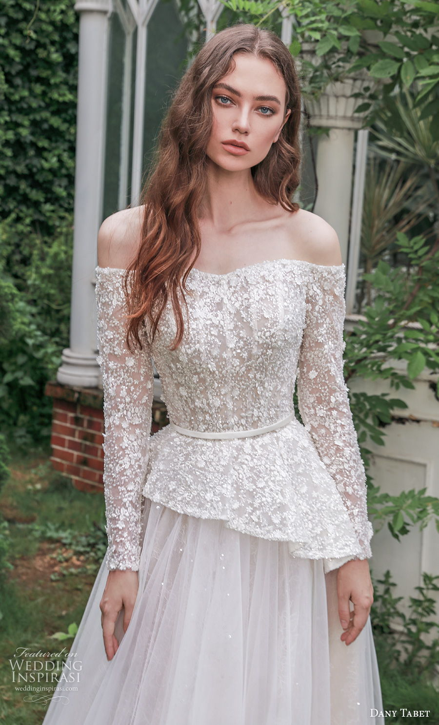 dany tabet 2021 emerge bridal long sleeves off the shoulder heavily embellished bodice peplum romantic a  line wedding dress medium train (3) zv