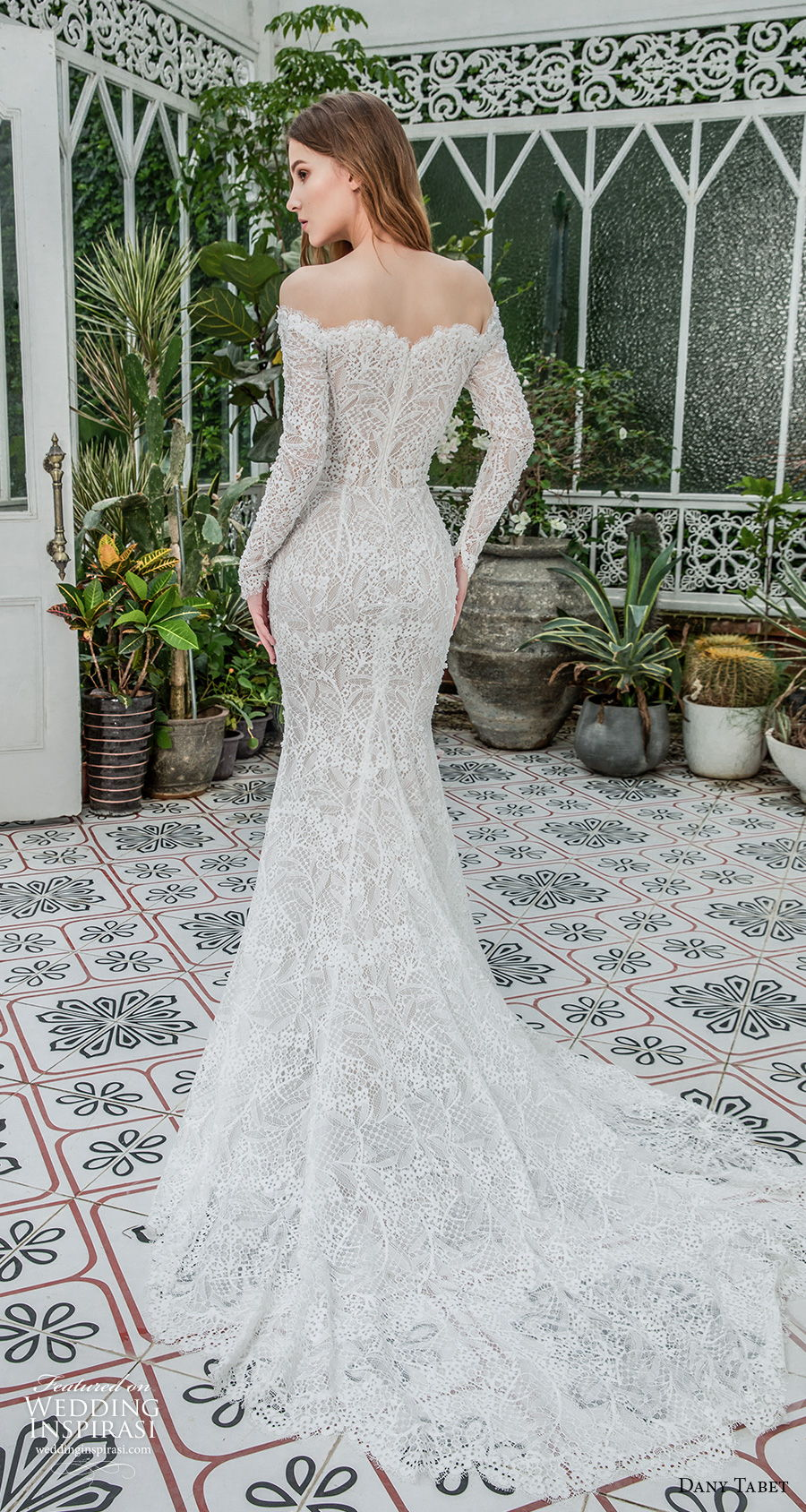 dany tabet 2021 emerge bridal long sleeves off the shoulder sweetheart neckline full embellishment elegant fit and flare wedding dress covered lace back chapel train (8) bv