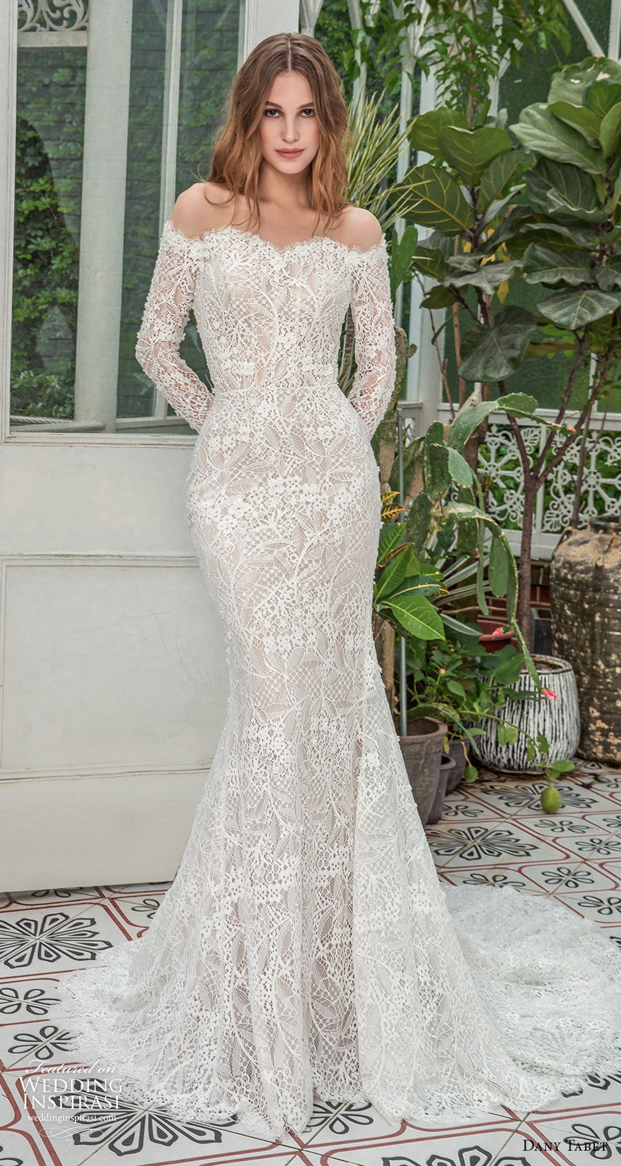 dany tabet 2021 emerge bridal long sleeves off the shoulder sweetheart neckline full embellishment elegant fit and flare wedding dress covered lace back chapel train (8) mv