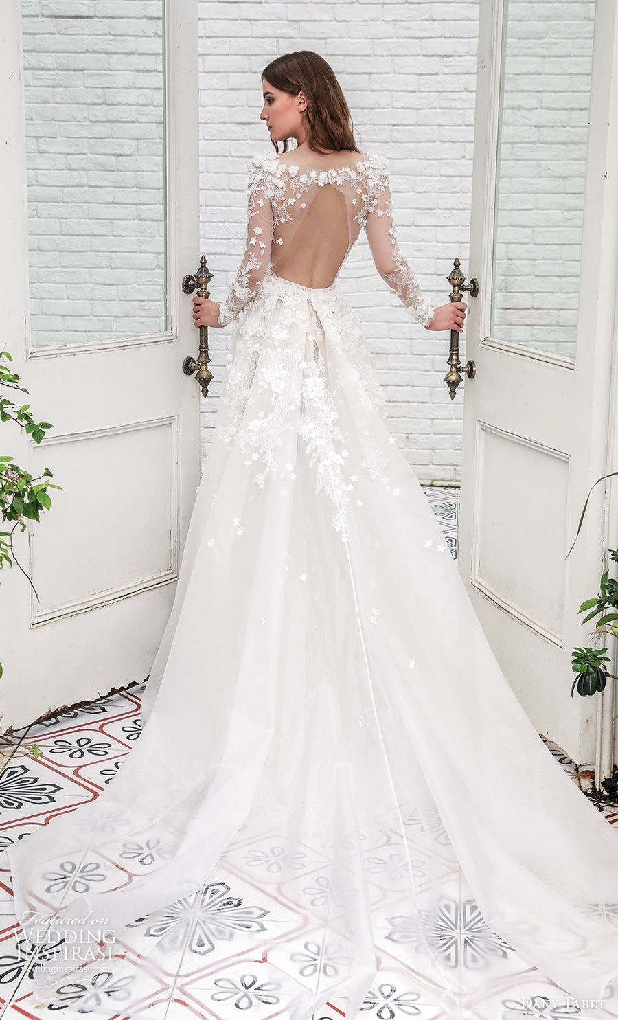 dany tabet 2021 emerge bridal long sleeves v neck heavily embellished bodice romantic fit and flare wedding dress keyhole back chapel train (2) bv