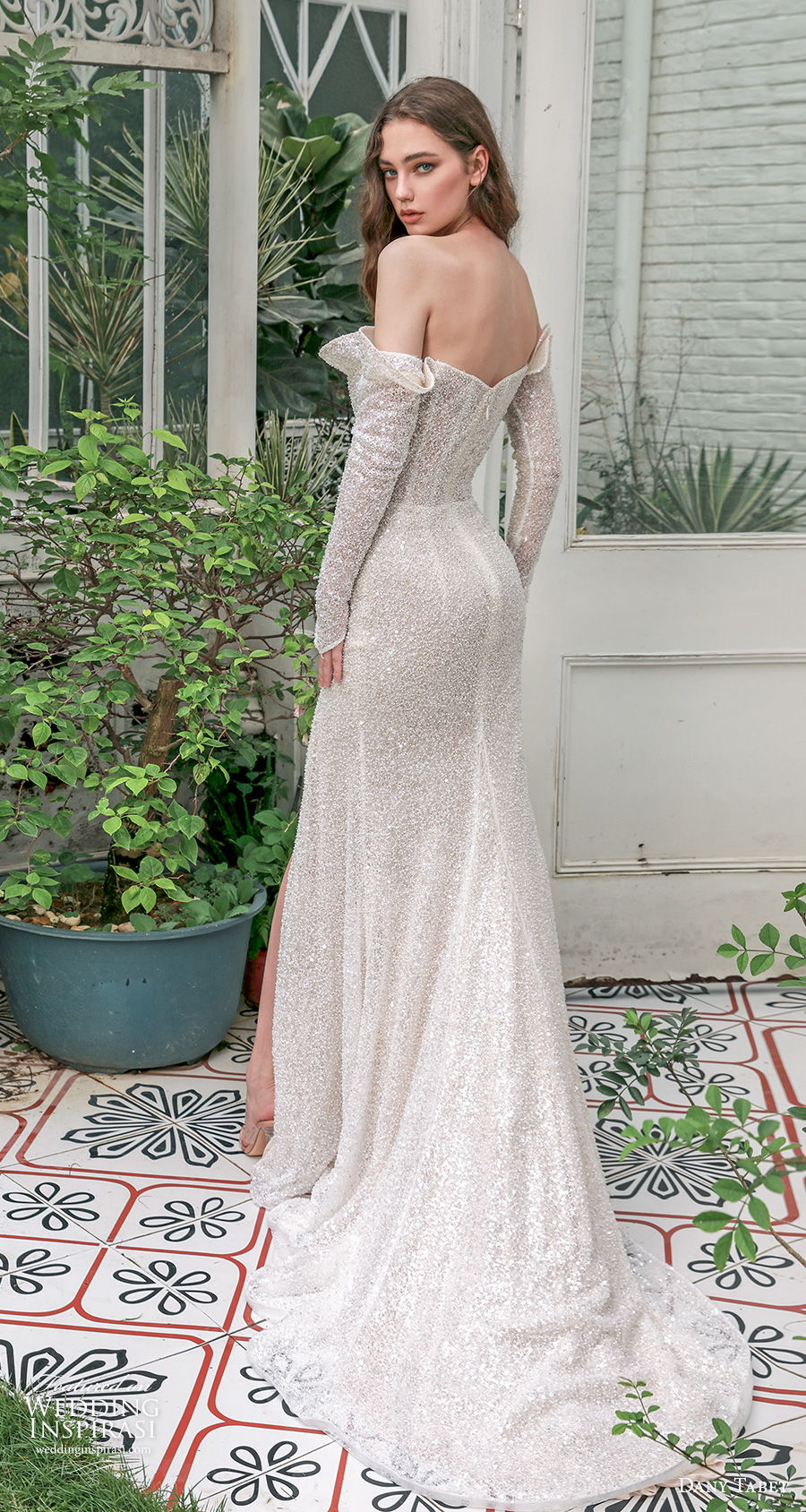 dany tabet 2021 emerge bridal off the shoulder crumb catcher neckline full embellishment glitter slit skirt glamorous sheath wedding dress mid backshort train (15) bv