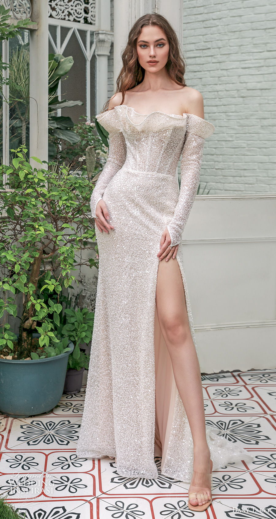 dany tabet 2021 emerge bridal off the shoulder crumb catcher neckline full embellishment glitter slit skirt glamorous sheath wedding dress mid backshort train (15) mv
