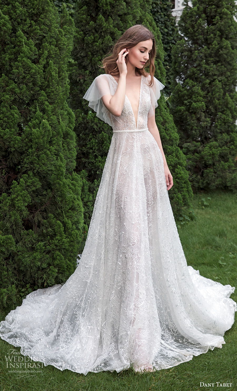 dany tabet 2021 emerge bridal short butterfly sleeves deep v neck light embellishment romantic a  line wedding dress low v back chapel train (5) mv