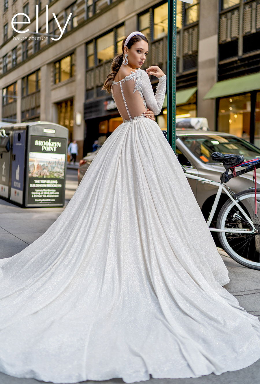 elly bride 2020 nyc bridal long sleeves bateau neck simple glitter glamorous princess ball gown a  line wedding dress sheer button back chapel train (angelica) bv