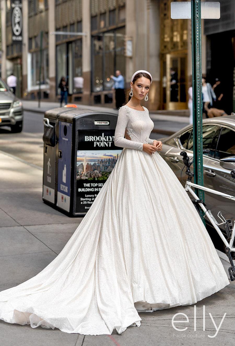 elly bride 2020 nyc bridal long sleeves bateau neck simple glitter glamorous princess ball gown a  line wedding dress sheer button back chapel train (angelica) mv