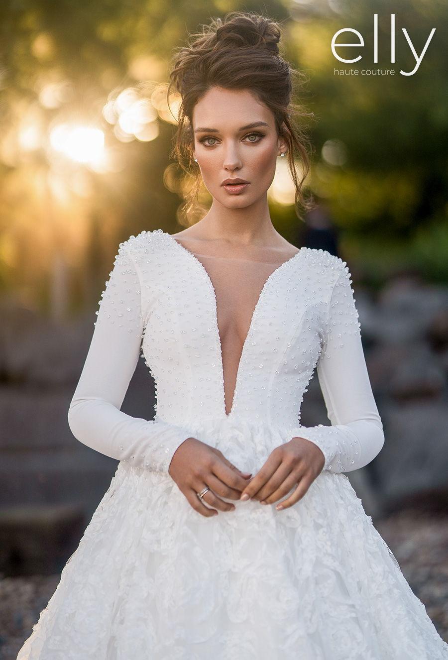 elly bride 2020 nyc bridal long sleeves deep plunging v neck full embellishment modern simple a  line wedding dress sheer button back royal train (axella) zv mv