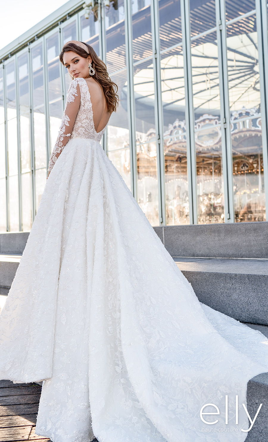 elly bride 2020 nyc bridal long sleeves deep v neck full embellishment romantic a  line wedding dress v back chapel train (adel) bv