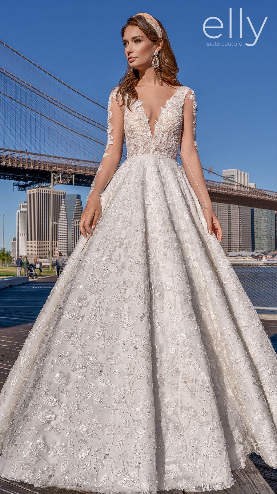 elly bride 2020 nyc bridal long sleeves deep v neck full embellishment romantic a  line wedding dress v back chapel train (adel) mv