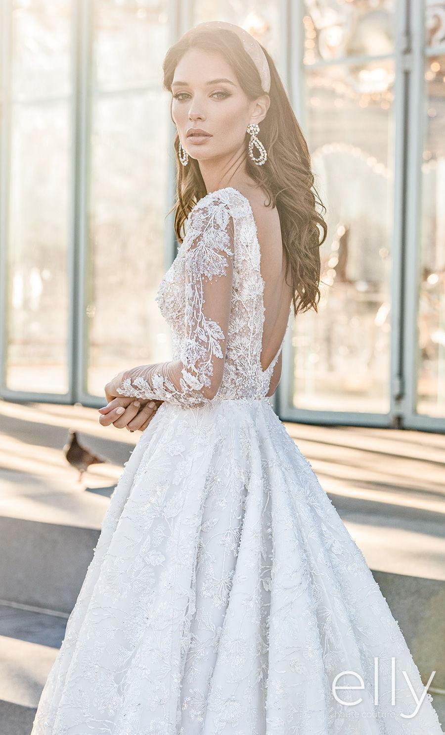 elly bride 2020 nyc bridal long sleeves deep v neck full embellishment romantic a  line wedding dress v back chapel train (adel) zbv
