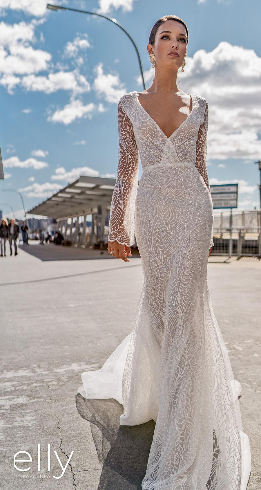 elly bride 2020 nyc bridal long sleeves v neck wrap over full embellishment elegant modern fit and flare wedding dress covered lace back chapel train (dala) mv