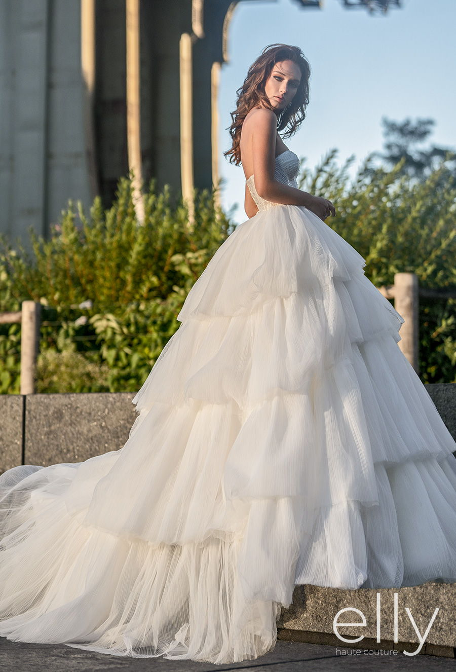 elly bride 2020 nyc bridal off the shoulder bishop sleeves sweetheart neckline heavily embellished bodice tiered skirt romantic a  line wedding dress mid back chapel train (adriana) fv