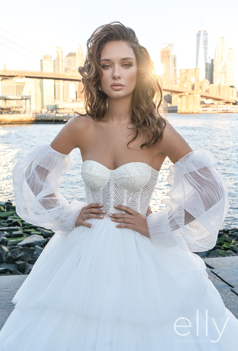 elly bride 2020 nyc bridal off the shoulder bishop sleeves sweetheart neckline heavily embellished bodice tiered skirt romantic a  line wedding dress mid back chapel train (adriana) zv mv