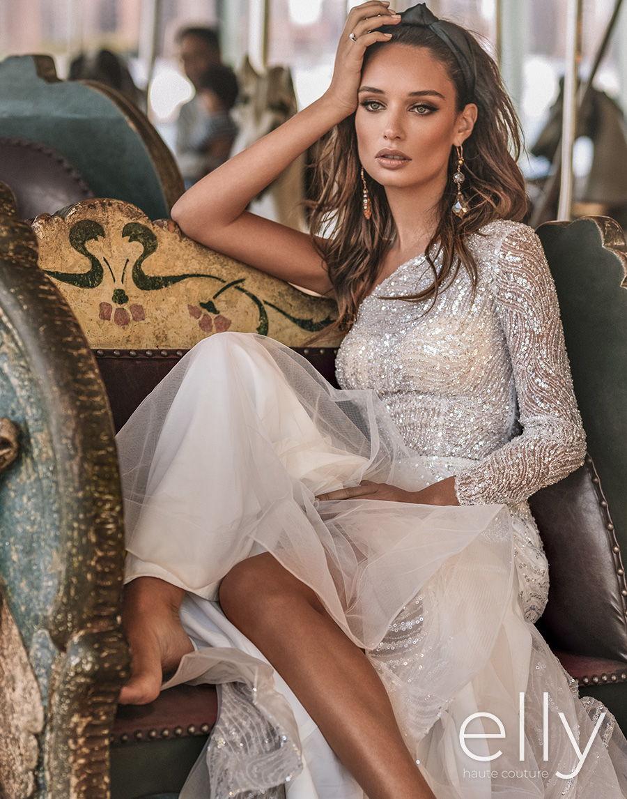 elly bride 2020 nyc bridal one shoulder long sleeve full embellishment glitter glamorous fit and flare sheath wedding dress medium train (alba) mv zv