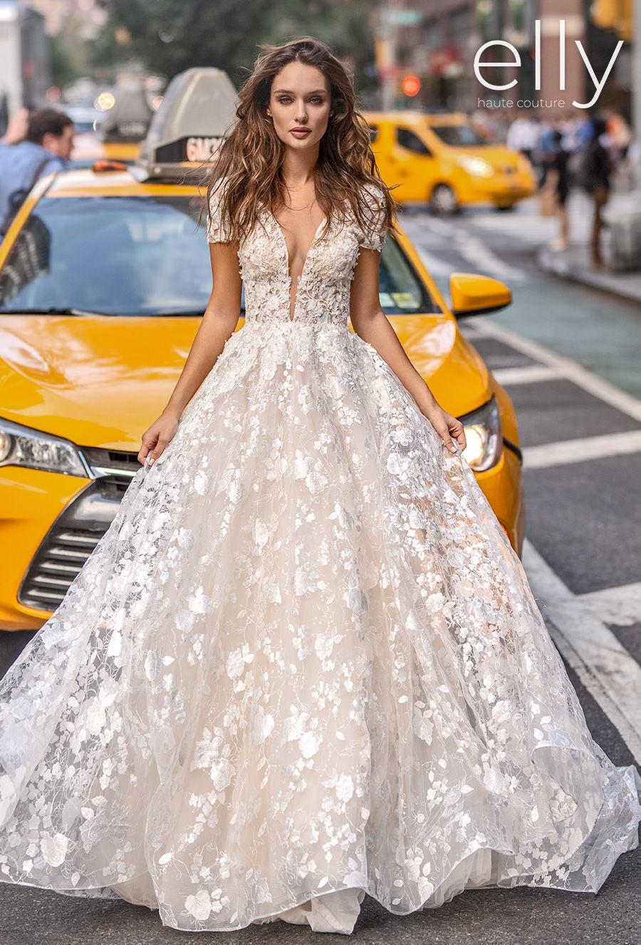 elly bride 2020 nyc bridal short sleeves deep plunging v neck full embellishment romantic a  line wedding dress square back chapel train (lori) mv