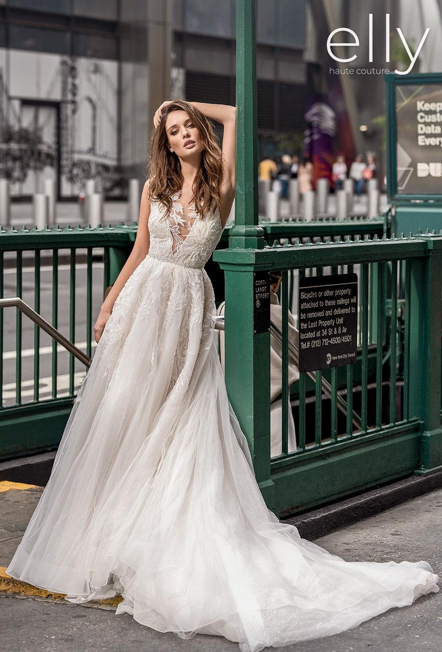 elly bride 2020 nyc bridal sleeveless deep v neck heavily embellished bodice romantic a  line wedding dress low square back chapel train (karen) mv