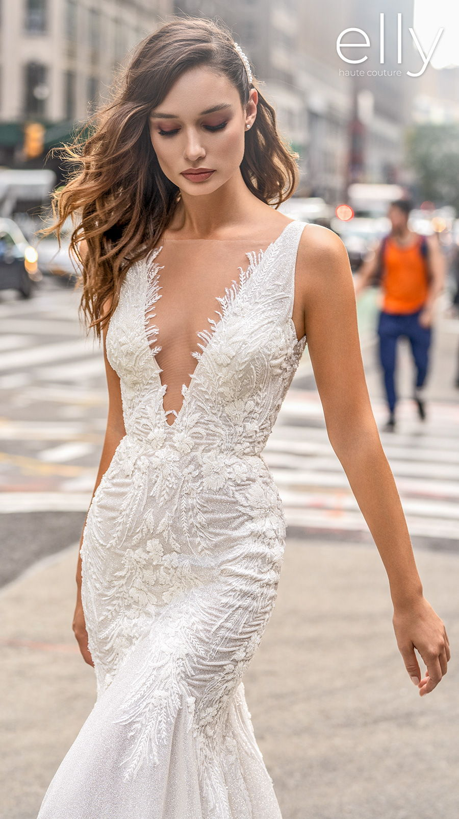 elly bride 2020 nyc bridal sleeveless deep v neck heavily embellished bodice romantic fit and flare wedding dress scoop back chapel train (chris) zv