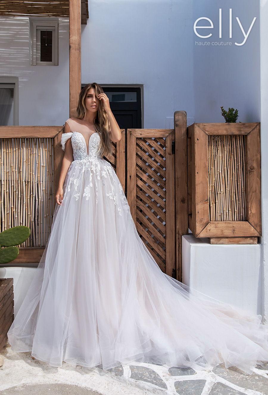 elly bride 2020 white mykonos bridal cold shoulder illusion bateau sweetheart neckline heavily embellished bodice romantic a  line wedding dress chapel train (damel) mv