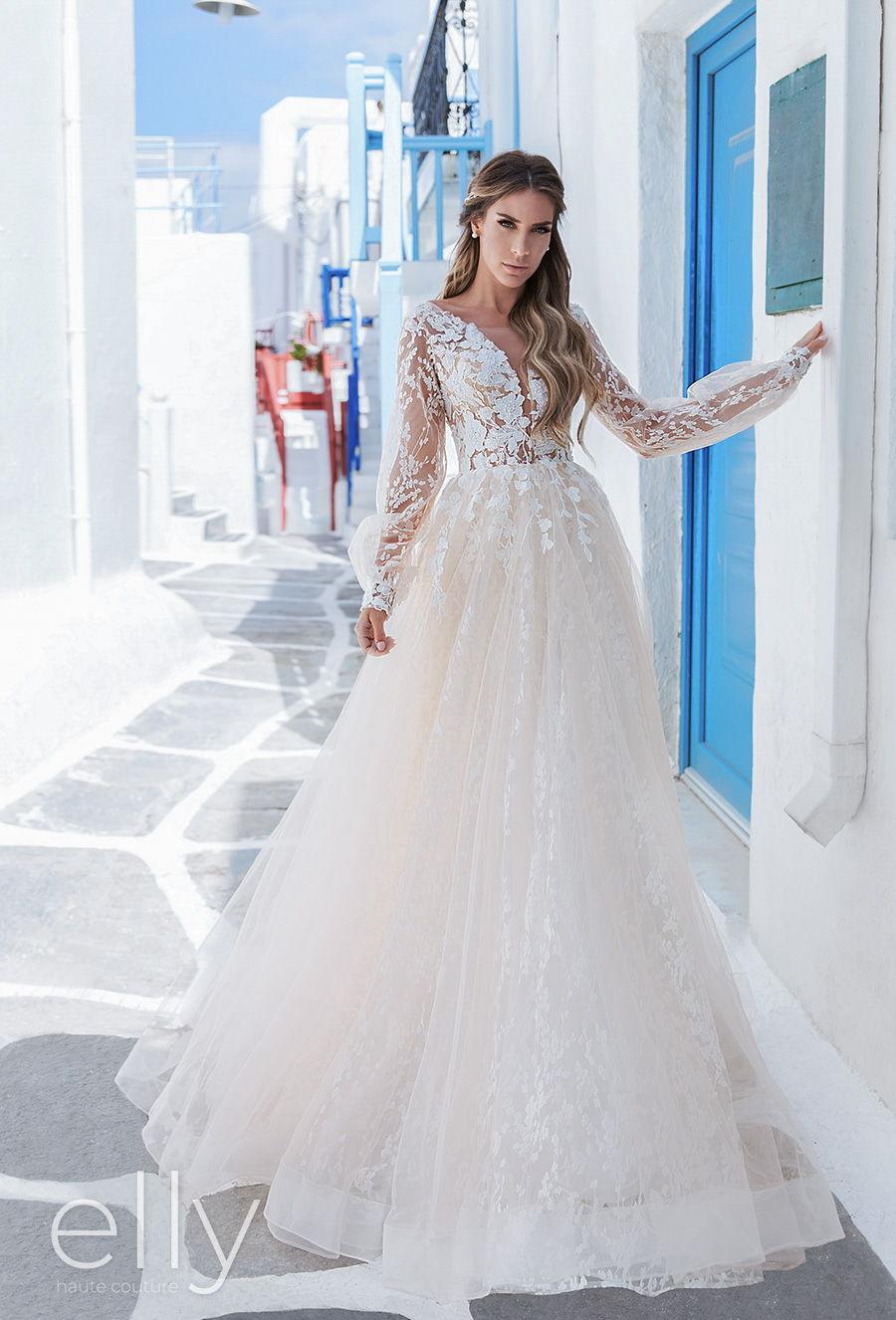 elly bride 2020 white mykonos bridal long bishop sleeves v neck heavily embellished bodice romantic a  line ivory wedding dress v back chapel train (sophie) fv mv