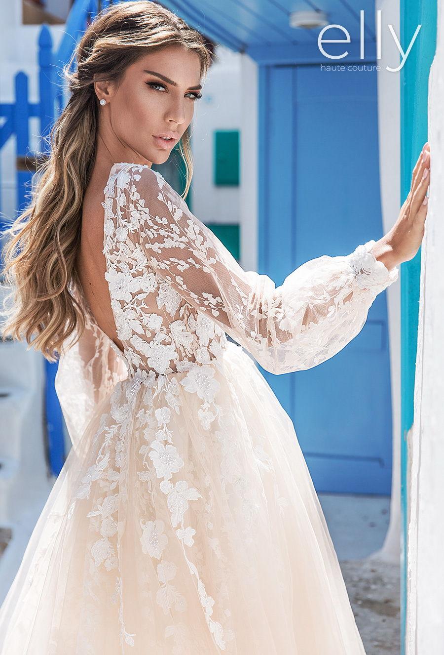 elly bride 2020 white mykonos bridal long bishop sleeves v neck heavily embellished bodice romantic a  line ivory wedding dress v back chapel train (sophie) zbv mv