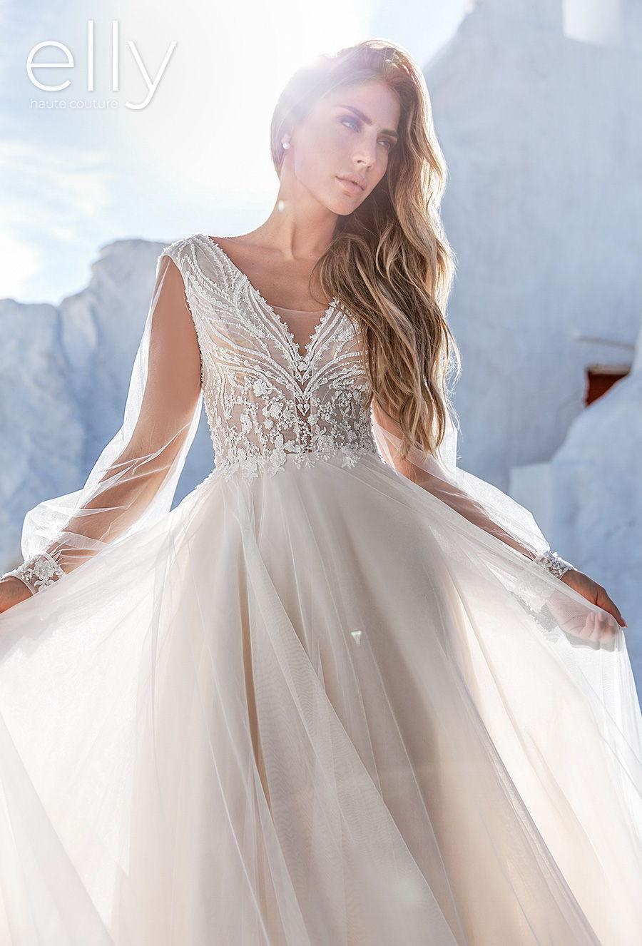 elly bride 2020 white mykonos bridal long bishop sleeves v neck heavily embellished bodice romantic soft a  line wedding dress mid back chapel train (rose) mv zv