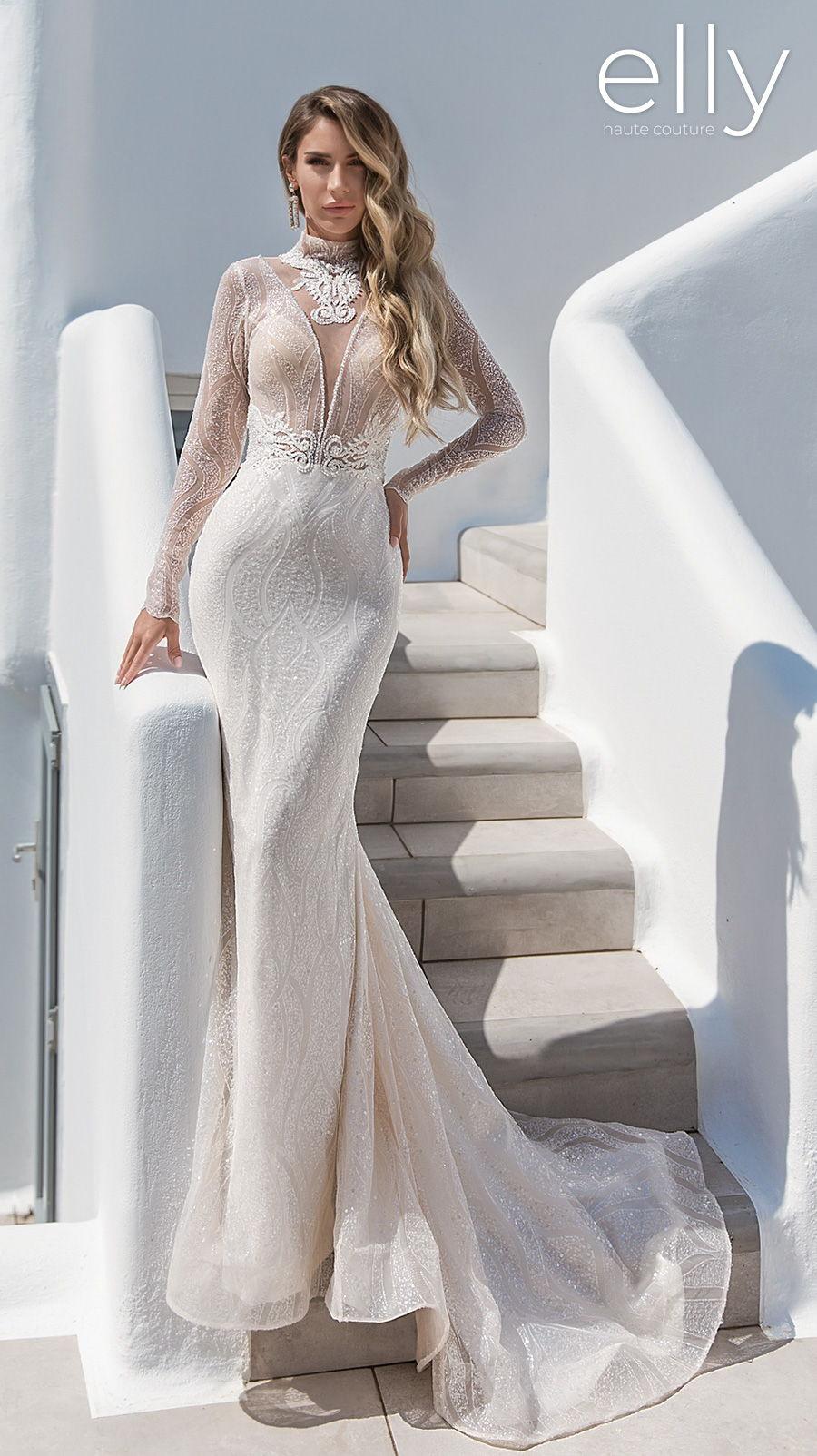 elly bride 2020 white mykonos bridal long sleeves deep plunging v neck full embellishment glamorous fit and flare wedding dress keyhole low back medium train (emily) mv