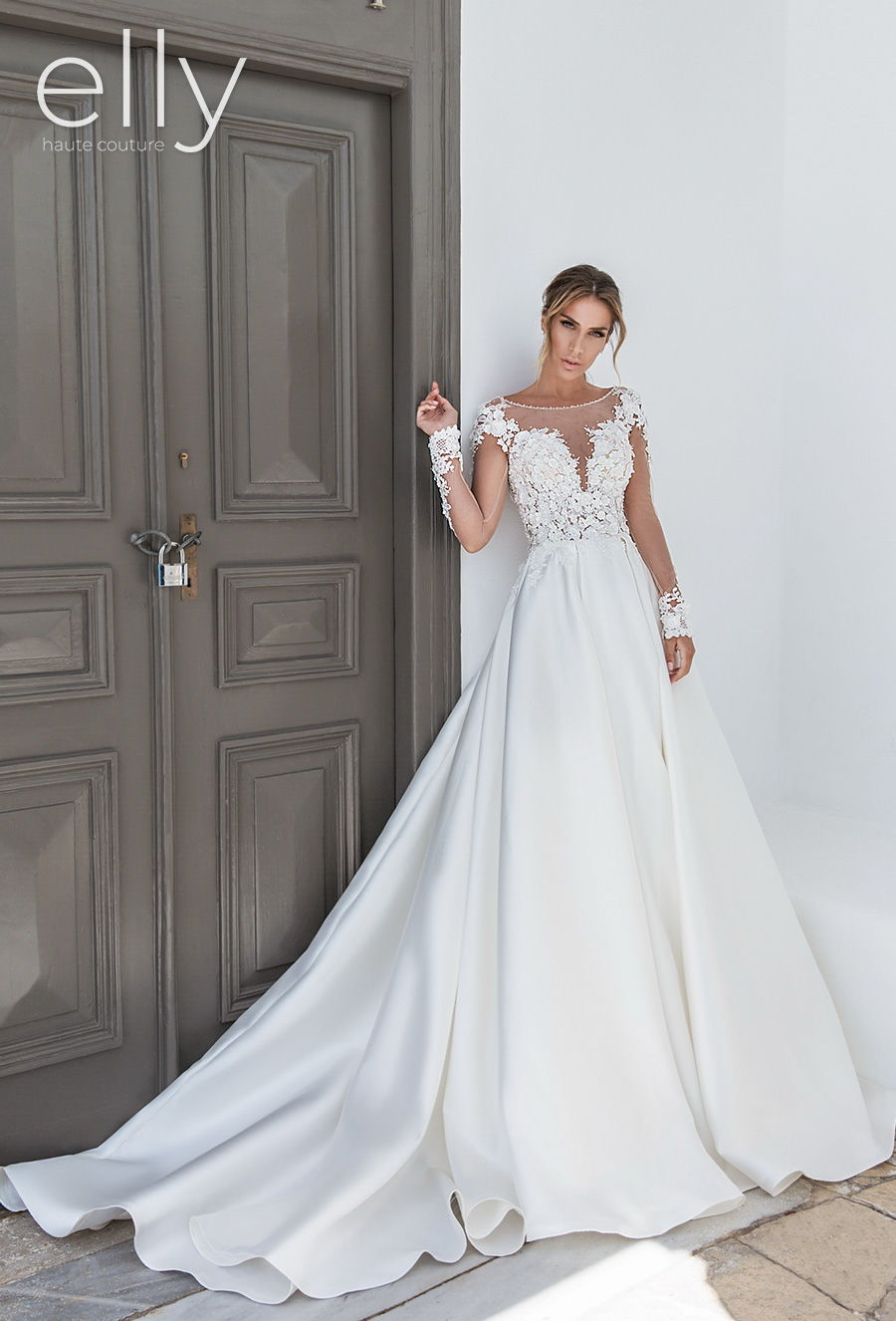 elly bride 2020 white mykonos bridal long sleeves illusion bateau sweetheart neckline heavily embellished bodice romantic a  line wedding dress scoop back chapel train (cindy) mv