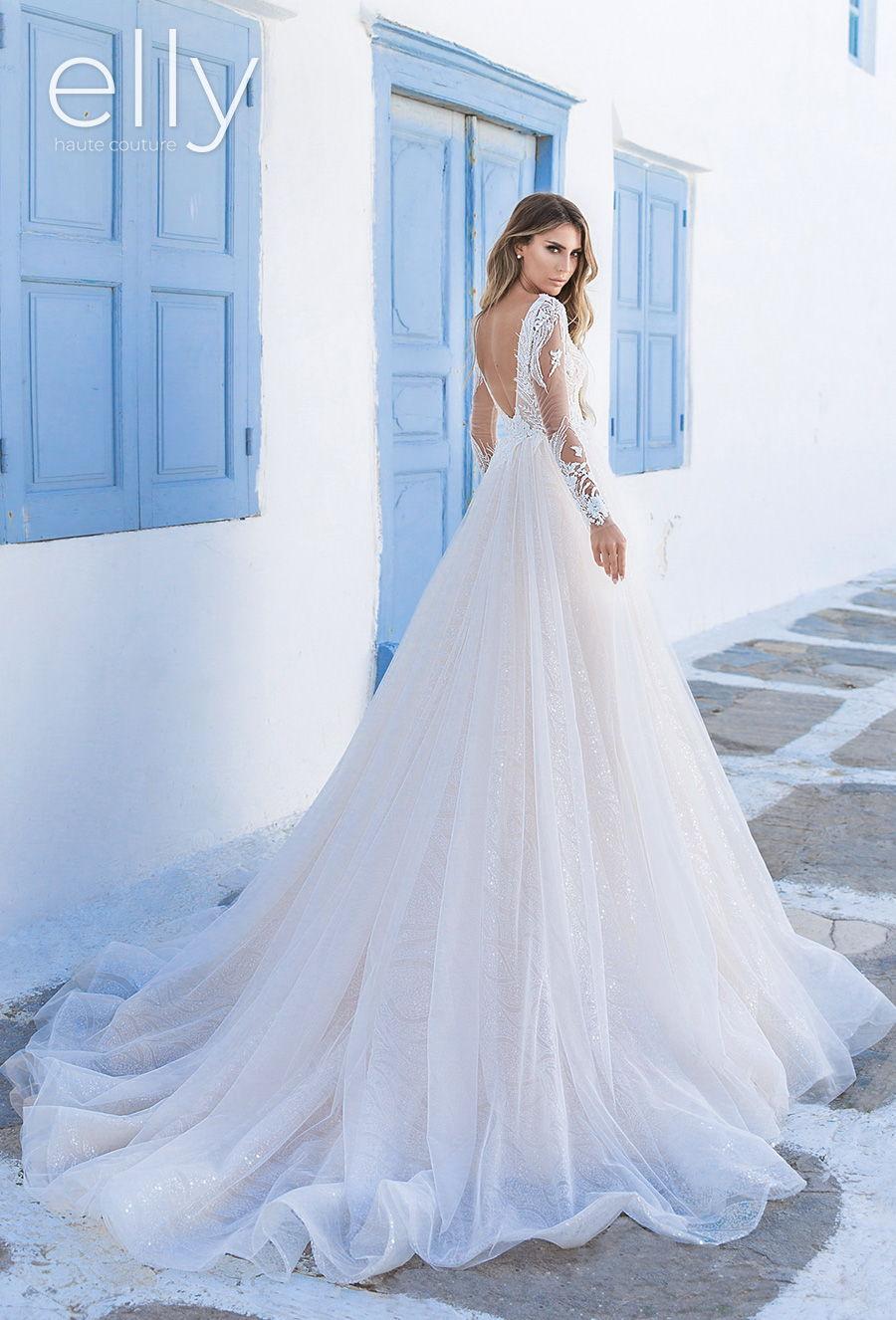 elly bride 2020 white mykonos bridal long sleeves v neck heavily embellished bodice romantic glamorous a  line wedding dress v back chapel train (leina) bv