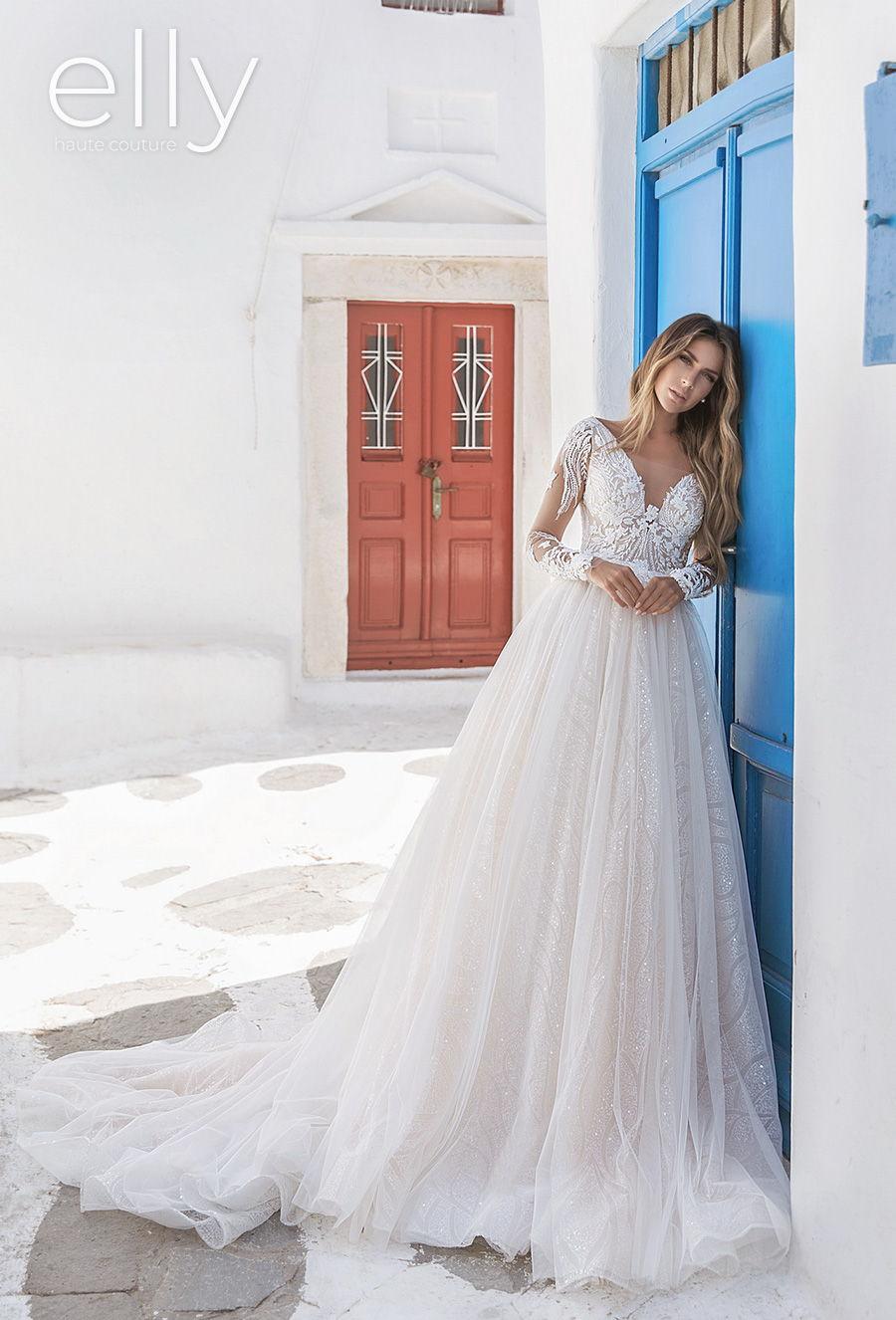 elly bride 2020 white mykonos bridal long sleeves v neck heavily embellished bodice romantic glamorous a  line wedding dress v back chapel train (leina) mv