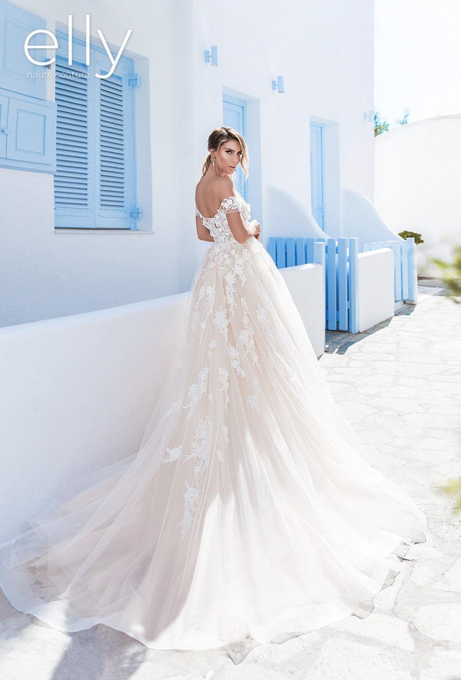 elly bride 2020 white mykonos bridal off the shoulder straight across neckline heavily embellished bodice romantic blush a  line wedding dress mid back chapel train (megan) bv