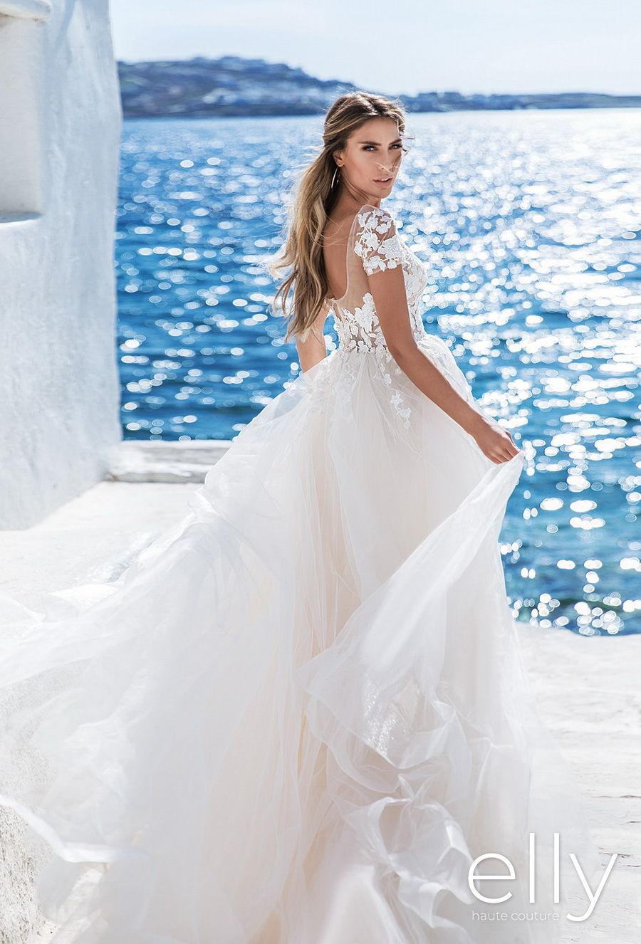 elly bride 2020 white mykonos bridal short sleeves illusion bateau sweetheart neckline heavily embellished bodice romantic a  line wedding dress square back chapel train (beatrice) zbv