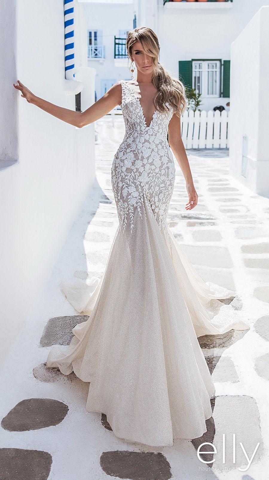 elly bride 2020 white mykonos bridal sleeveless deep v neck heavily embellished bodice romantic ivory mermaid wedding dress backless scoop back chapel train (samantha) mv
