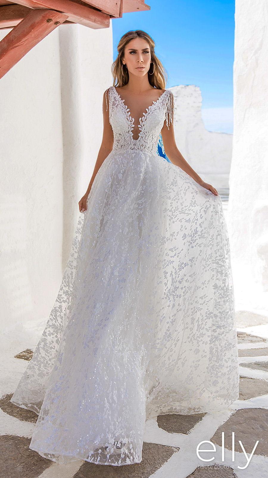 elly bride 2020 white mykonos bridal sleeveless fringe strap deep v neck full embellishment romantic a  line wedding dress backless square back chapel train (laura) mv