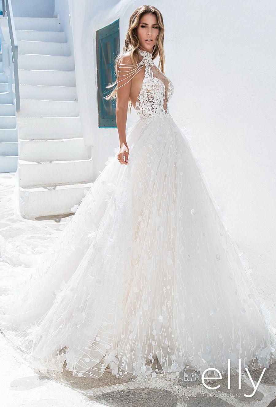 elly bride 2020 white mykonos bridal sleeveless halter neck sweetheart neckline full embellishment romantic a  line wedding dress backless low back chapel train (dimetra) mv