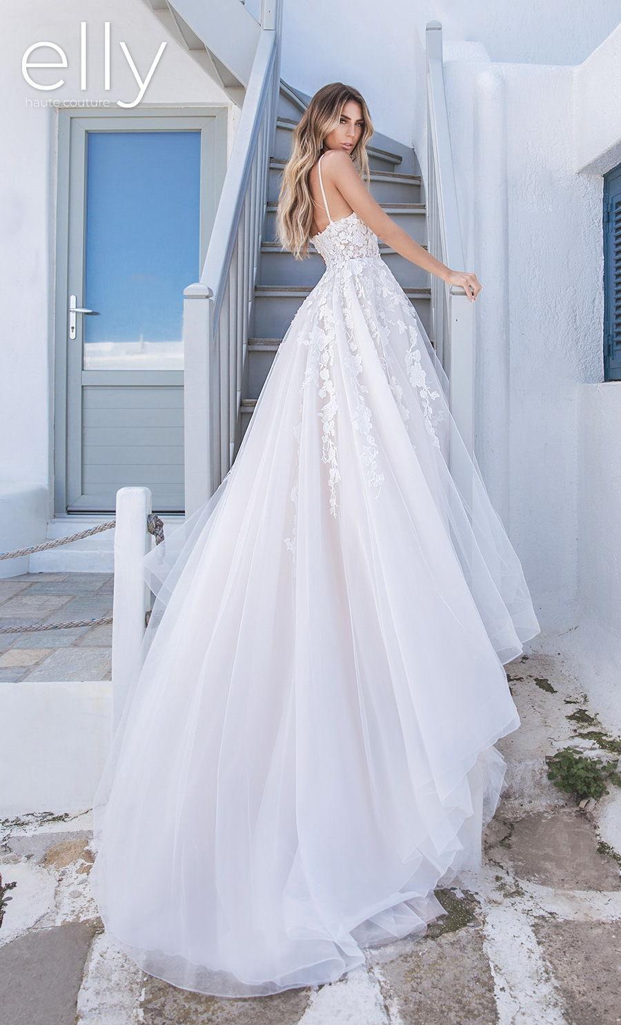 elly bride 2020 white mykonos bridal sleeveless spaghetti strap sweetheart neckline heavily embellished bodice romantic a  line wedding dress backless chapel train (monica) bv mv