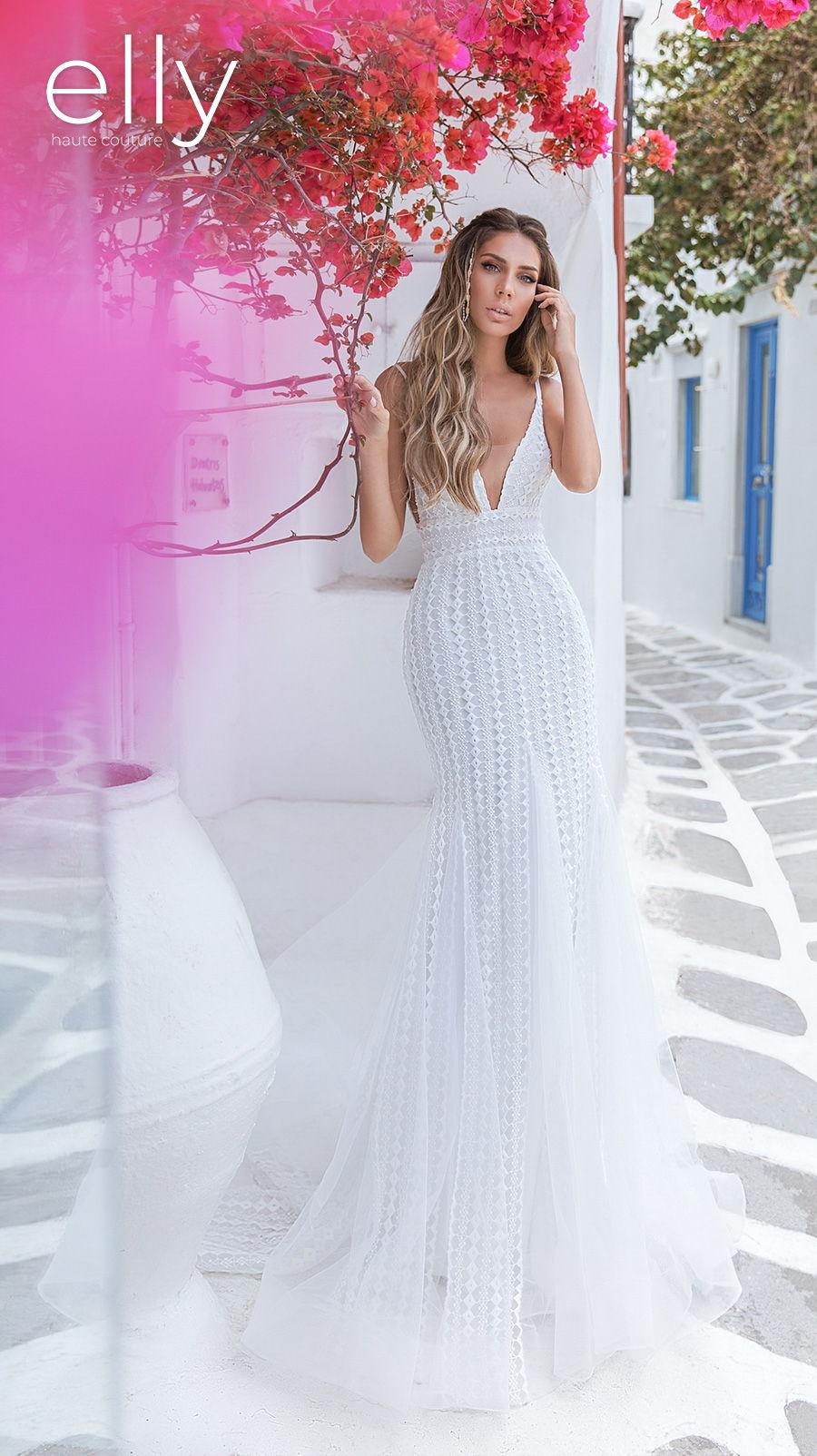elly bride 2020 white mykonos bridal sleeveless thin strap deep v neck full embellishment elegant sexy fit and flare wedding dress low v back medium train (daisy) mv