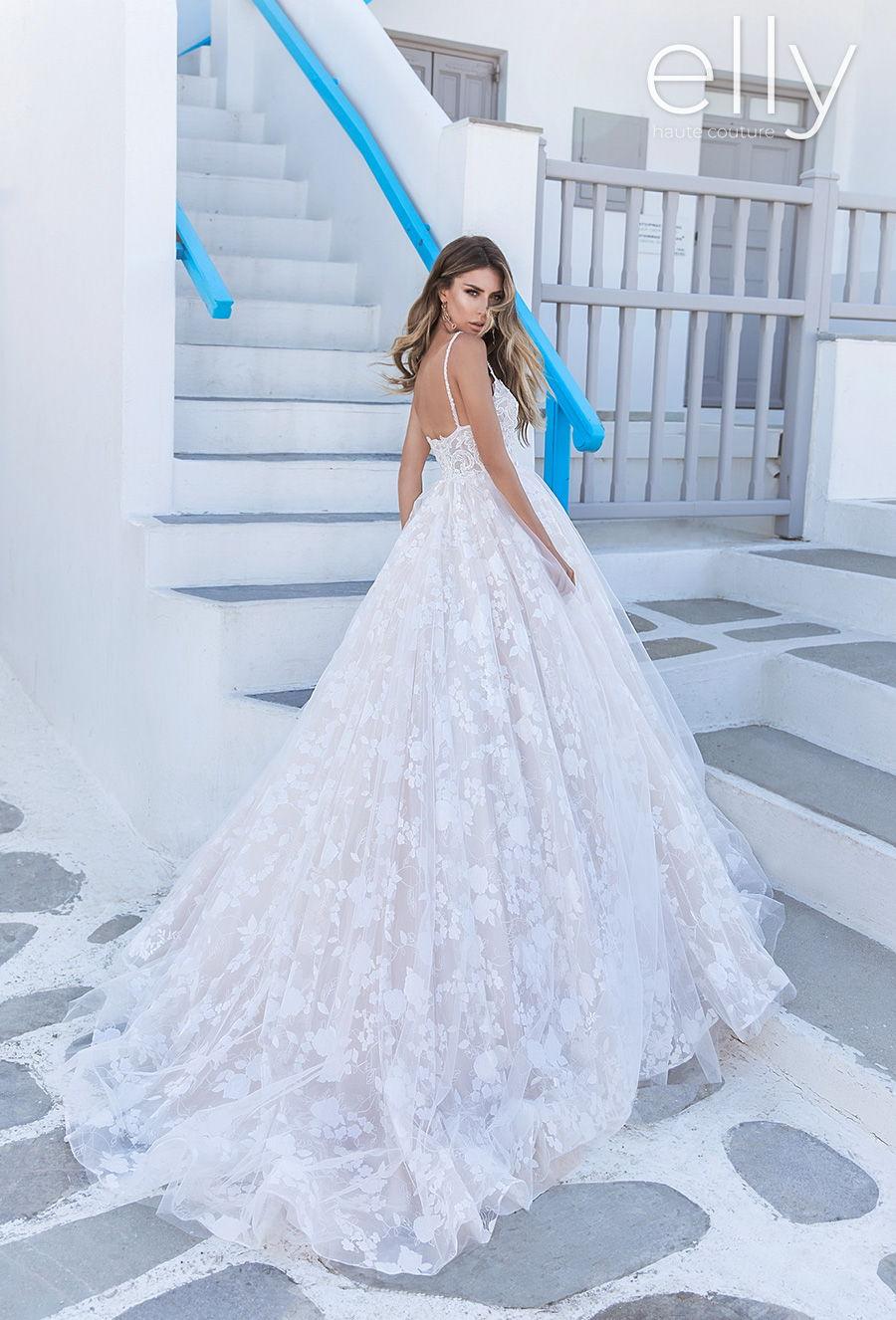 elly bride 2020 white mykonos bridal sleeveless thin strap diamond neck full embellishment romantic a  line wedding dress backless chapel train (michele) bv