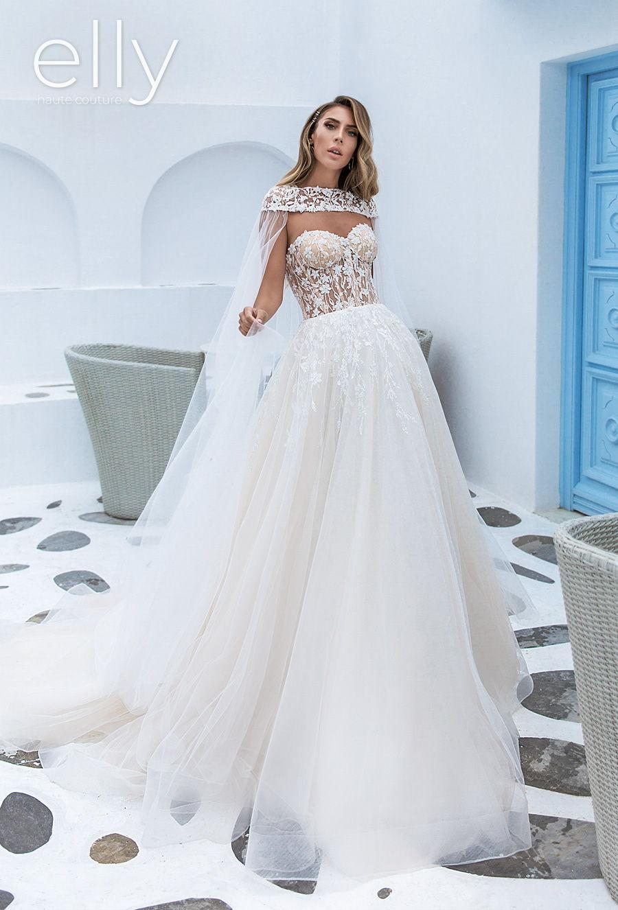 elly bride 2020 white mykonos bridal strapless sweetheart neckline heavily embellished bodice bustier romantic a  line wedding dress mid back chapel train (whitney) mv