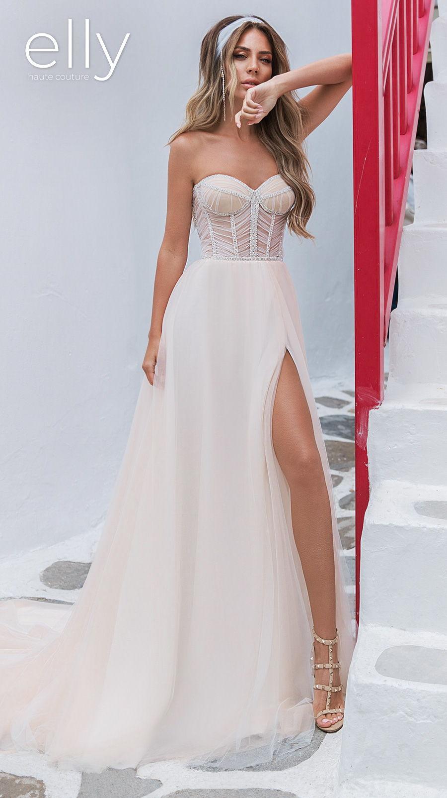 elly bride 2020 white mykonos bridal strapless sweetheart neckline heavily embellished bodice slit skirt modern sexy ivory a  line wedding dress chapel train (aria) mv
