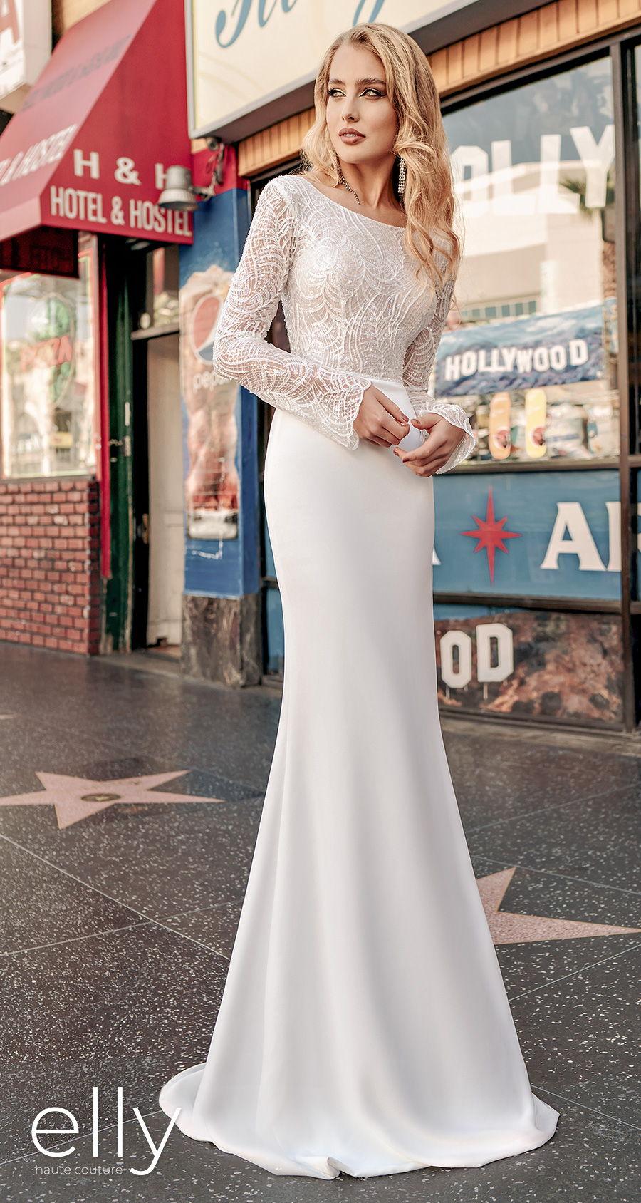elly bride 2021 los angeles bridal long funnel sleeves bateau neck heavily embellished bodice elegant fit and flare wedding dress low v back sweep train (hayden) mv