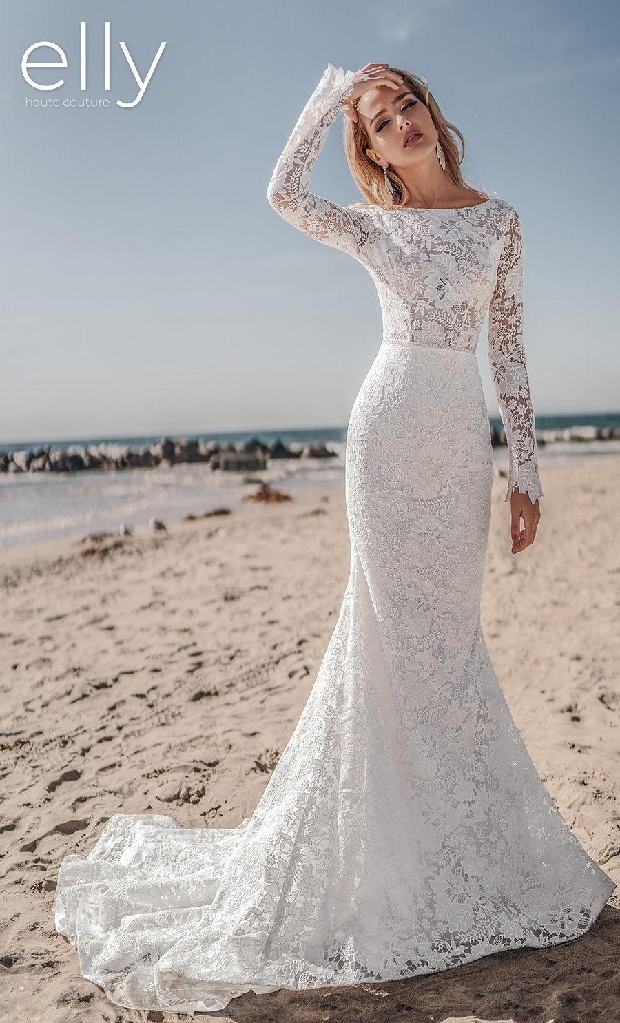 elly bride 2021 los angeles bridal long sleeves bateau neck full embellishment romantic fit and flare wedding dress low v back medium train (winona) mv