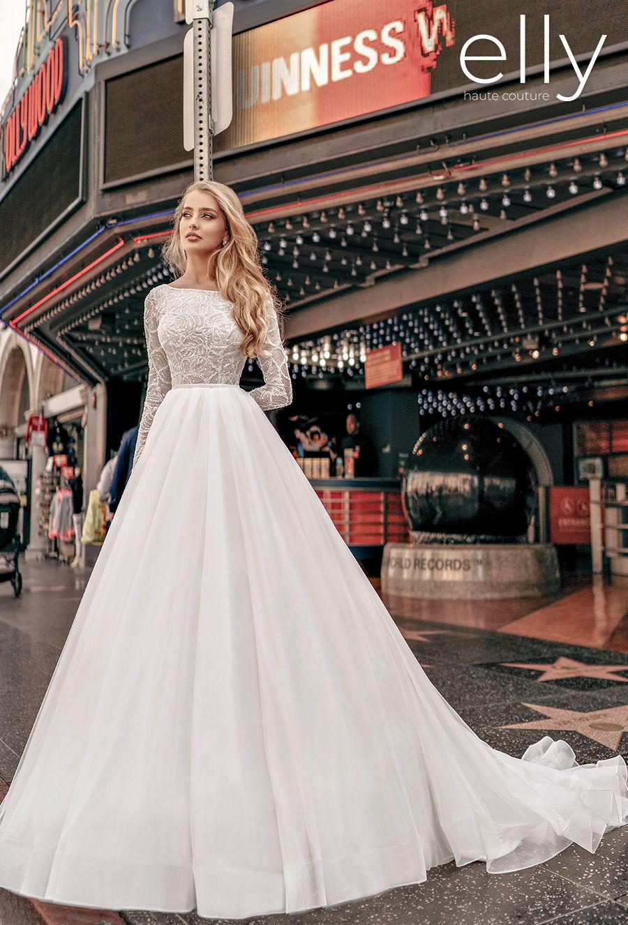 elly bride 2021 los angeles bridal long sleeves bateau neckline heavily embellished bodice elegant a  line wedding dress low v back chapel train (zooey) mv