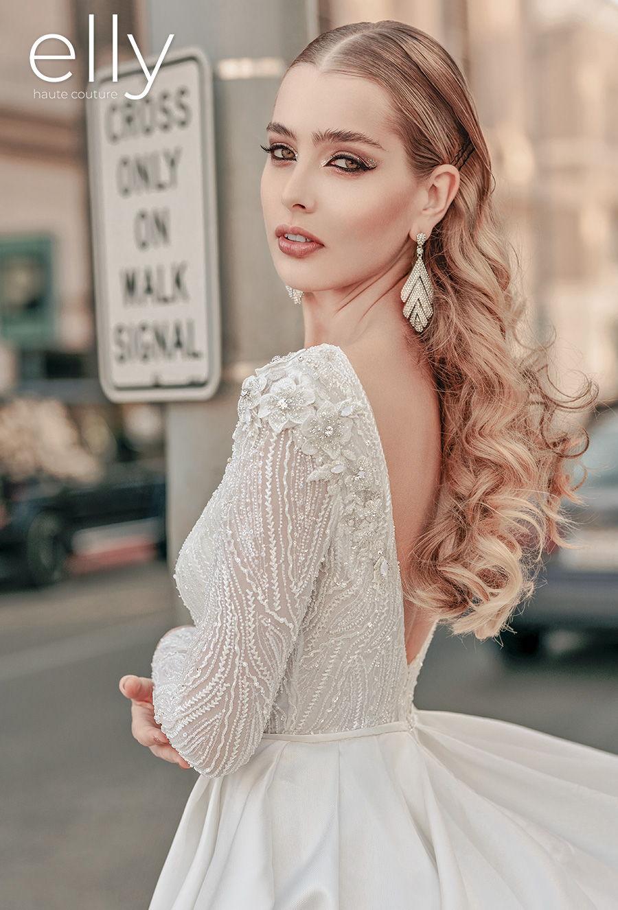 elly bride 2021 los angeles bridal long sleeves deep plunging v neck heavily embellished bodice elegant a  line wedding dress pockets low v back medium train (cameron) zbv mv