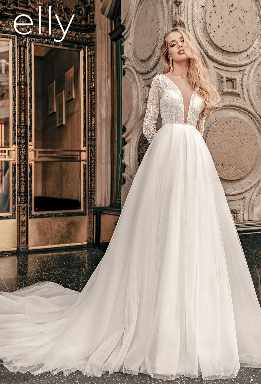 elly bride 2021 los angeles bridal long sleeves deep plunging v neck heavily embellished bodice glamorous elegant a  line wedding dress covered back medium train (diane) mv
