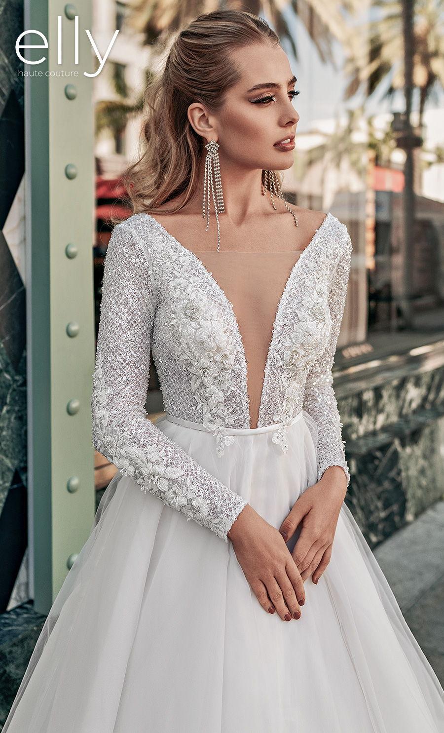 elly bride 2021 los angeles bridal long sleeves deep plunging v neck heavily embellished bodice glitter glamorous a  line wedding dress low v back chapel train (sandra) mv zv
